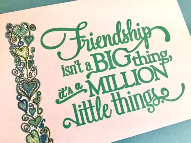 friend greeting card 5 x 7 art print original design bff gift best friend girl friend handlettered style across the miles BeachHouseDreams