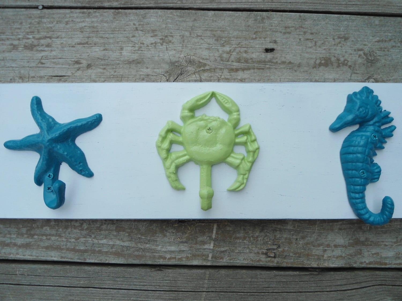 Starfish Anchor Beach Towel Rack Seahorse Mermaid Bathroom Towels