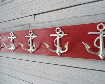 anchor hooks Nautical beach decor Beach House Dreams towel rack coat hooks mudroom foyer guest room bathroom accessories decorating idea OBX