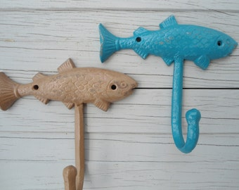 Mancave decor fisherman gift idea 3 Large Fish wall hooks fishing camping outdoorsman lake house river BeachHouseDreamsHome Outer Banks OBX