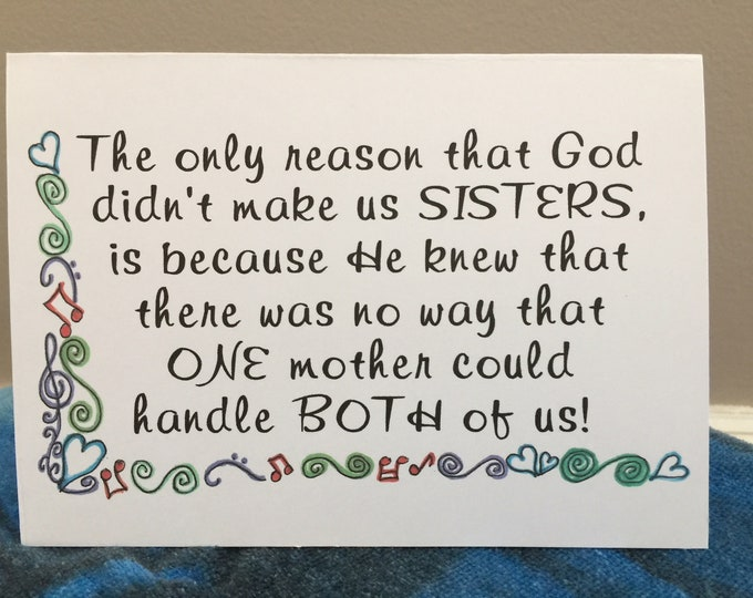 thinking of you girlfriend card like a sister bff miss you across the miles ready to ship handlettered style BeachHouseDreams Outer Banks
