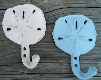 2 sand dollar hooks, home organization, beach decor, nautical hooks in colors you choose