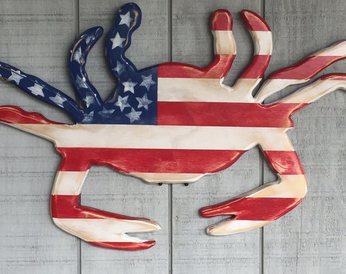 patriotic crab red white blue military appreciation veteran nautical beach decor election political party outdoor BeachHouseDreamsHome OBX