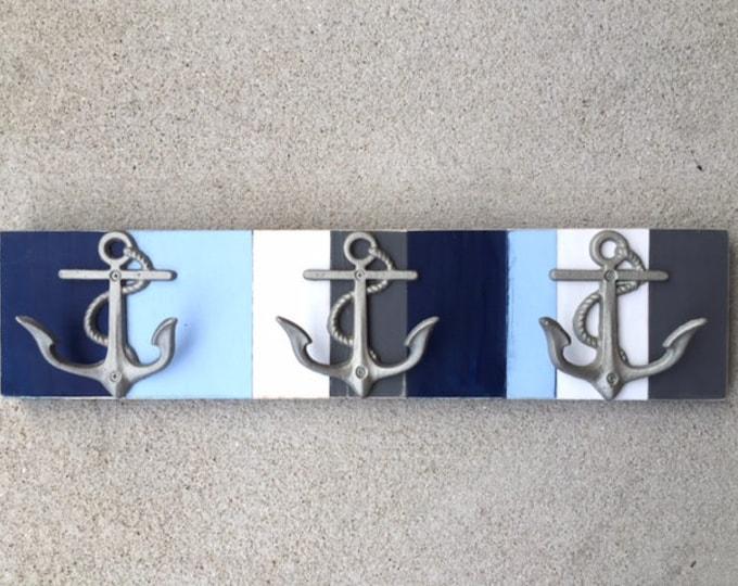 beach towel rack anchor nautical decor outdoor shower pool mancave boat cabin lake coastal cottage decor coat rack pool BeachHouseDreamsHome