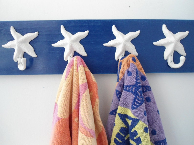 Beach house decor starfish foyer hall tree indoor outdoor towels bathroom shower pool cottage hottub gym Outer Banks BeachHouseDreams OBX