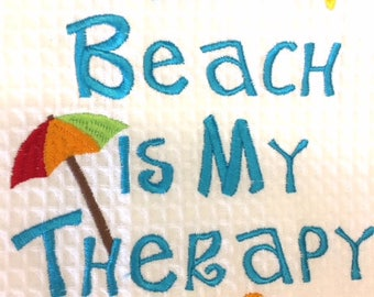 The beach is my therapy hand towel embroidery hostess gift Outer Banks beach home cottage coastal living BeachHouseDreams Outer Banks OBX