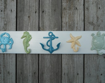 Outdoor beach towel hooks mud room  shower pool rack hot tub Nautical coastal decor 10 UNmounted hooks mermaid anchor cleat BeachHouseDreams