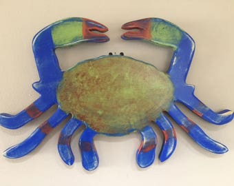 blue crab yard art beach wedding party crab lovers restaurant seafood tiki bar river lake cottage beach outdoor art BeachHouseDreamsHome OBX