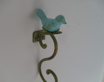 bird hook plant hanger garden bird lover decorating robins egg blue gardener dish towel hook key hooks Beach House Dreams