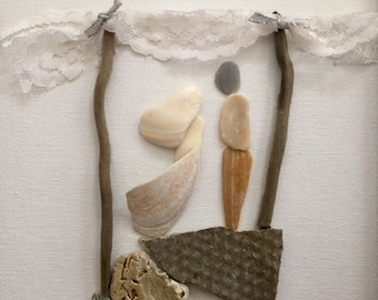 Unique wedding gift engagement Outer Banks anniversary husband wife mixed media seashell pebble art couple I have found Beach House Dreams