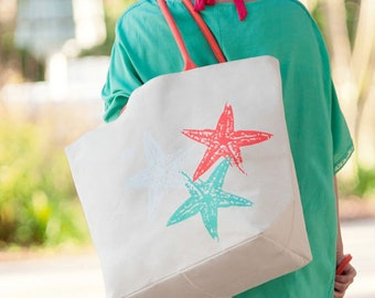 beach bag coral mint starfish totes Outer Banks beach wedding hostess gift hospitality thank you beach wedding guest BeachHouseDreamsHomeOBX