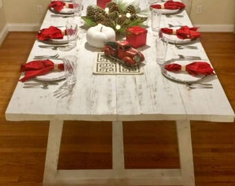 Farmhouse table OBX LOCAL PICKUP only barn wood reclaimed whitewashed gathering table rustic beach cabin cottage restaurant kitchen island