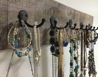 jewelry necklace holder display rack 10 hook organizer bracelets barn wood scarf tie beach towels reclaim foyer mudroom OBX BeachHouseDreams