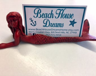 Mermaid business card holder new business store supplies craft show beach wedding placecard holder coastal Beach House Dreams Outer Banks