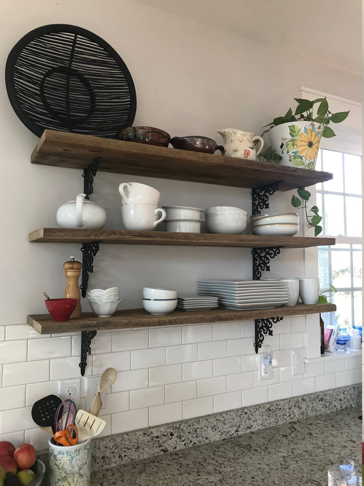 2 Two 47 Inch Farmhouse Barn Wood Shelves Reclaimed