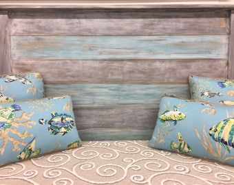 beach house blue gray Queen headboard farmhouse rustic distressed cottage interior design BeachHouseDreams Local PICKUP only OBX Outer Banks