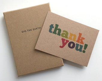 Thank You - Set Of 12 Colourful Postcard Note Cards in a Box