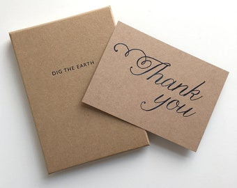 Thank You - Set Of 12 Inky Watercolour Script Postcard Note Cards in a Box