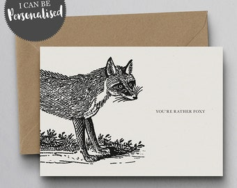 You're Rather Foxy Personalised Greeting Card – Valentine Card, I Love You Card, Personalised Card, Fox Card