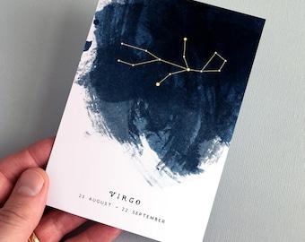 Virgo Constellation Zodiac Star Sign Birthday Card 23 August – 22 September