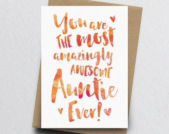 The Most Amazingly Awesome Auntie Greeting Card - Aunty Thank You, Aunt Card, Birthday Card for Auntie, Family Card