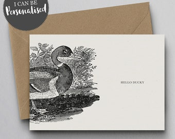 Hello Ducky Personalised Greeting Card – Hello Card, I Love You Card, Personalised Card, Duck Card, Friend Card