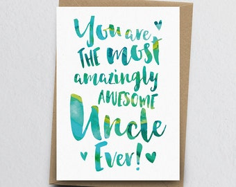 The Most Amazingly Awesome Uncle Greeting Card - Uncle Thank You, Uncle Card, Birthday Card for Uncle, Family Card