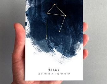 Libra Constellation Zodiac Star Sign Birthday Card 23 September - 22 October
