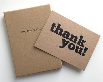Thank You - Set Of 12 Mono Postcard Note Cards in a Box