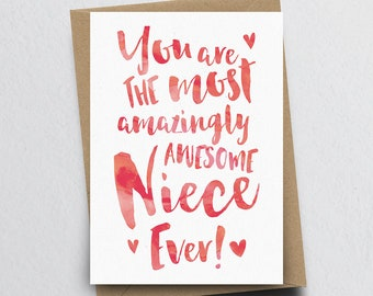 The Most Amazingly Awesome Niece Greeting Card - Niece Thank You, Niece Card, Birthday Card for Niece, Family Card