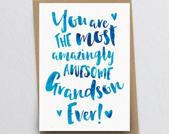 The Most Amazingly Awesome Grandson Greeting Card - Grandson Thank You, Grandson Card, Birthday Card for Grandson, Family Card