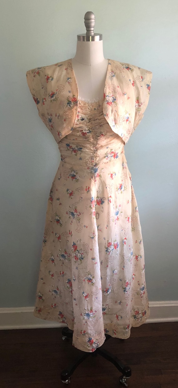 Early 1940s 40s Floral Beige Tan Khaki Strapless … - image 3