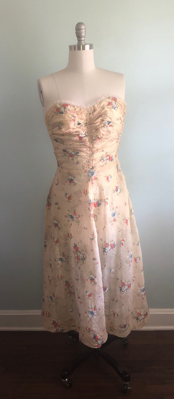 Early 1940s 40s Floral Beige Tan Khaki Strapless … - image 2
