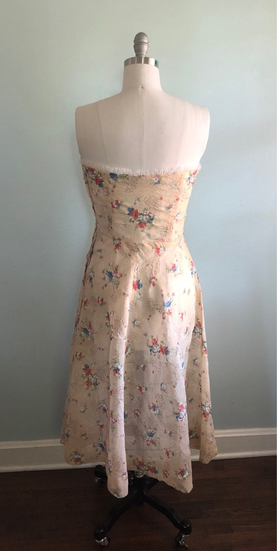 Early 1940s 40s Floral Beige Tan Khaki Strapless … - image 6