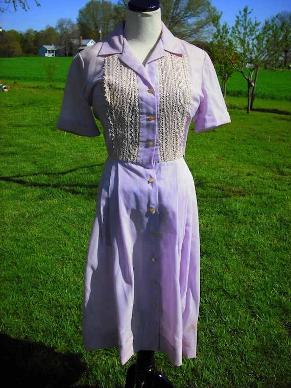 Cotton and Lace Purple 1950s Day Dress