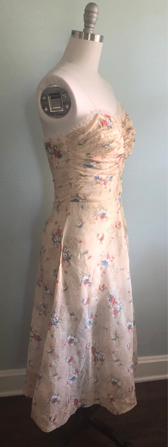 Early 1940s 40s Floral Beige Tan Khaki Strapless … - image 5