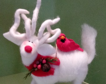 Winter White Christmas Reindeer With Cardinal Felted Wool Ornament
