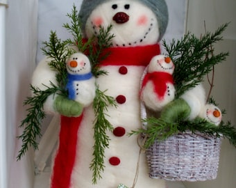 """Breezy and Babes Felted Wool Snowman 14"""""""
