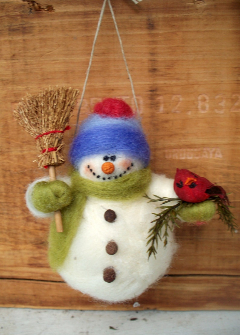 Barry the Snowman Wool Wrapped/Needle Felted Ornament Made to image 0
