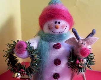 Felted Wool Snowman and Reindeer Ornament