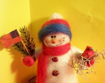 Americana Felted Wool Snowman Ornament