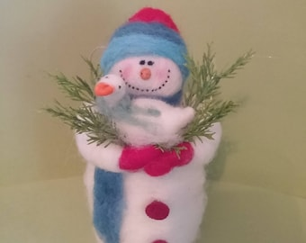 Just Ducky Felted Wool Snowman - NEW for 2017