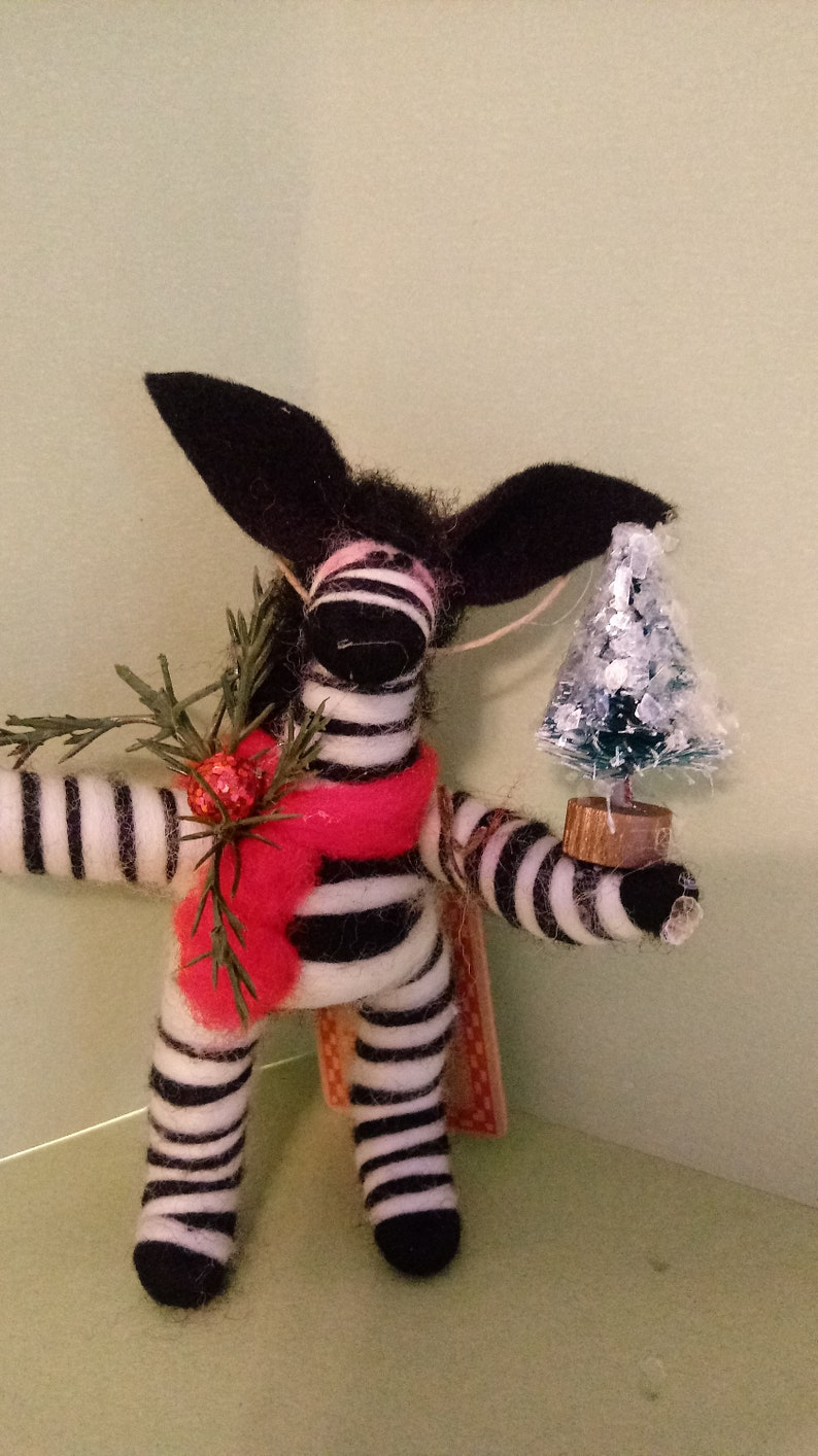 NEW Festive Zebra with Christmas Tree....Made to order...please check shipping time