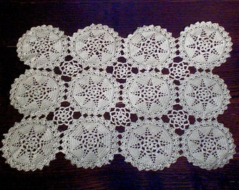 Linens & Textiles (pre-1930) Vintage Hand Embroidered White Rayon Tray Cloth Table Centre 18x13 Inches Embroidery