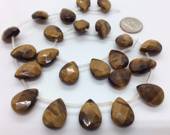 Natural Tiger's Eye 16mm Faceted Teardrop Beads, Tiger's Eye Teardrops, Jewelry Supplies