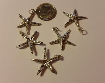 Sterling Silver Starfish Charm, 23X 21mm, .925 Sterling Silver Sea Life Charm, Jewelry Suppiles