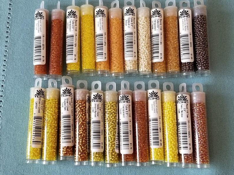 Rainbow Topaz Topaz Dandelion TOHO Seed Beads- 110 size 2.5 Tube Japanese Seed Beads Lemon Dark Topaz Oxblood