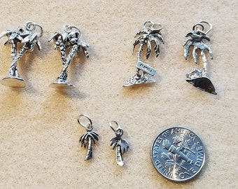Sterling Silver Palm Tree Charms, .925 Sterling Silver, Beach Charm, Tropical,Earring Dangles, Bracelet Charms,Made in USA, Jewelry Suppiles