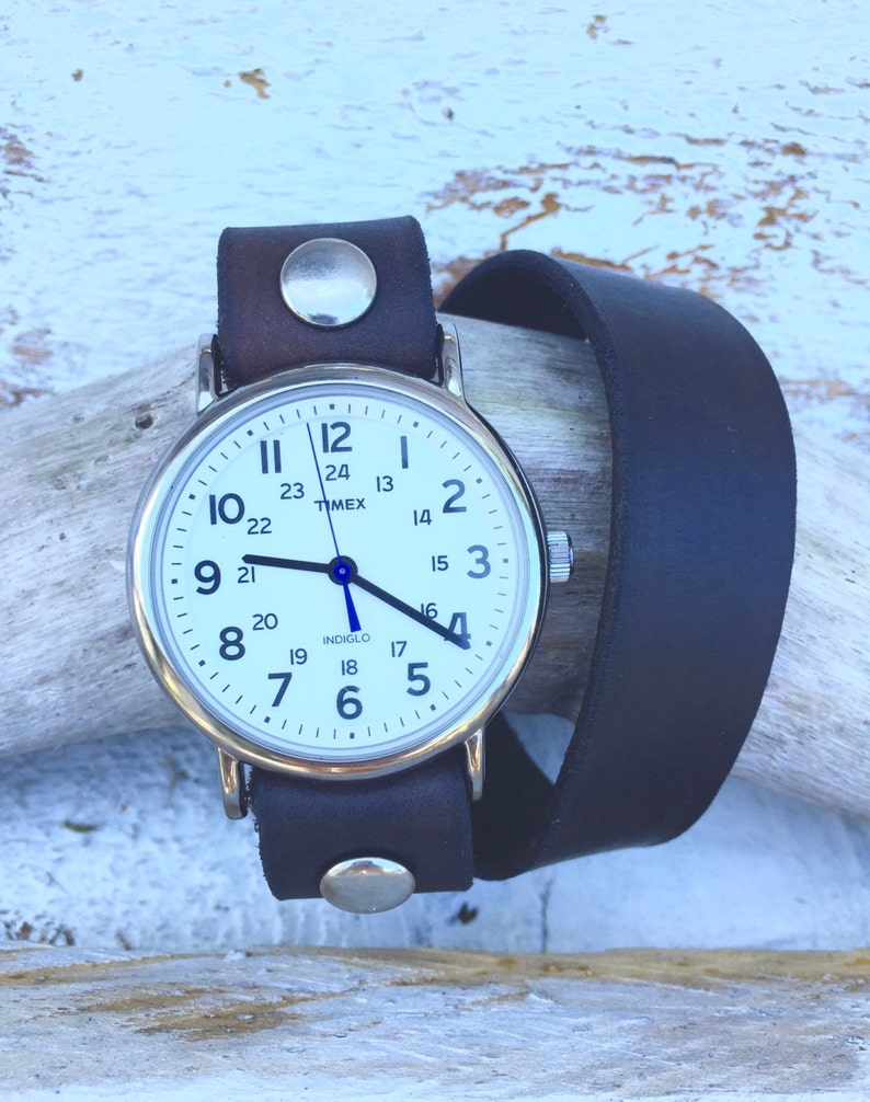 Black Wrap Watch-Timex-Leather Watch-Fossil-Bracelet-Handmade  Watch-Sundance-Rugged-Throwback-Bohemian-Fine Leather