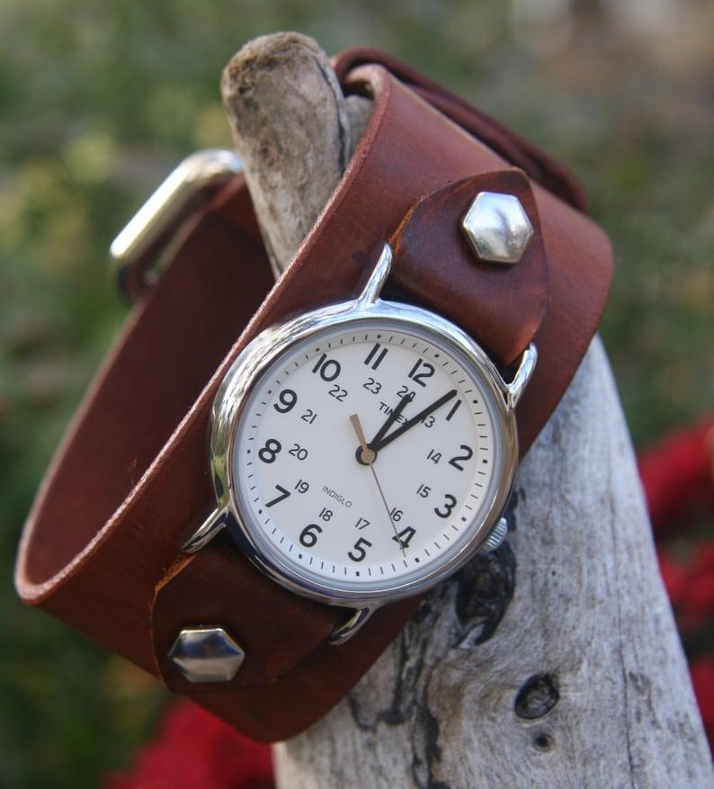 Timex-Leather Watch-Men's Watch-Fossil-Leather Cuff-Big Watch-Custom  Watch-Handmade Watch-Sundance-Rugged-Throwback-Bohemian-Fine Leather